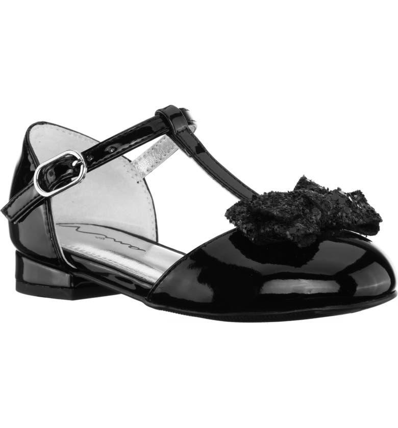 NINA Noemy Glitter Bow Dress Shoe, Main, color, BLACK PATENT