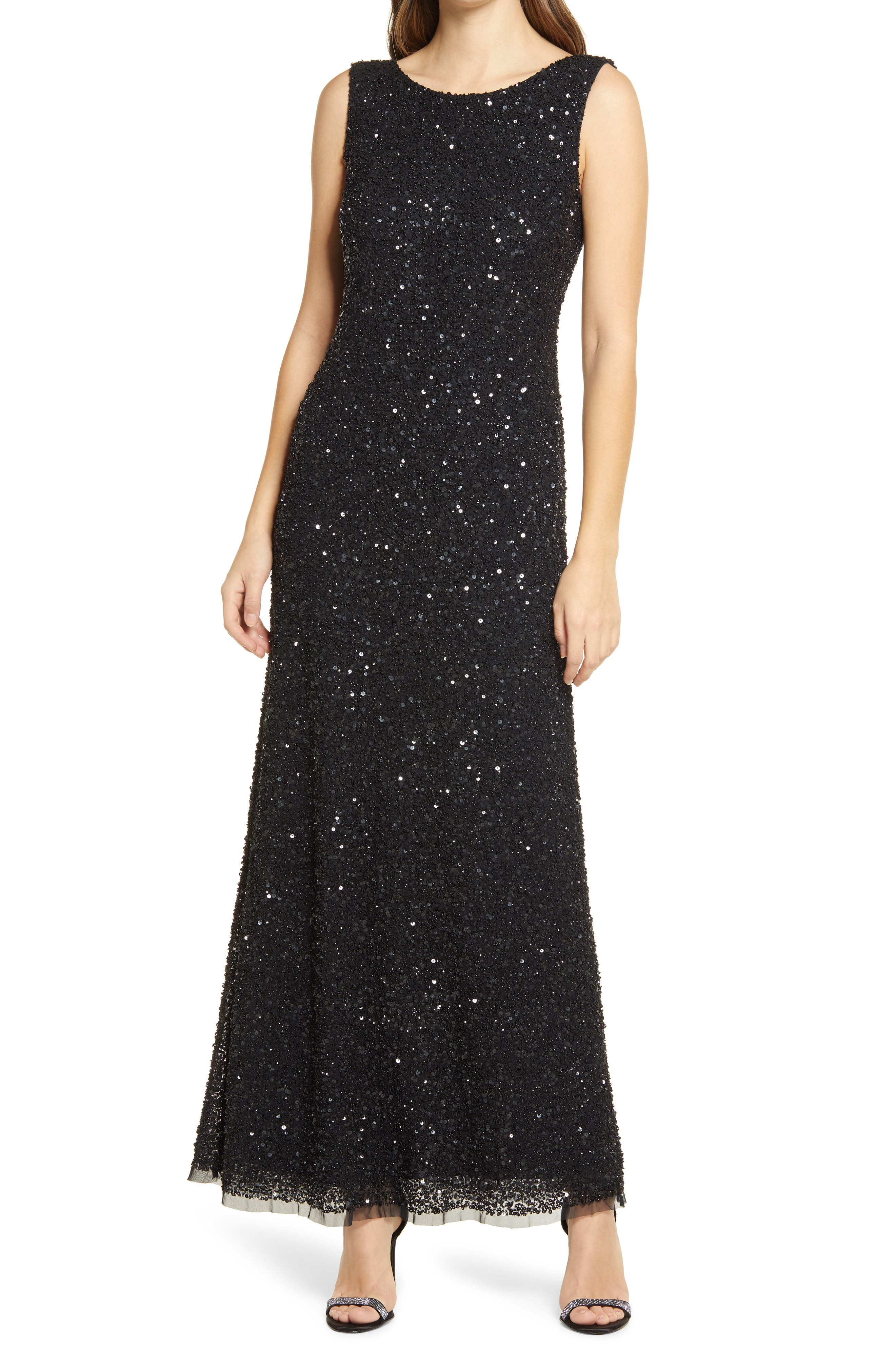 Roaring 20s Costumes- Flapper Costumes, Gangster Costumes Womens Pisarro Nights Sequin Mesh A-Line Gown Size 14 - Black $278.00 AT vintagedancer.com