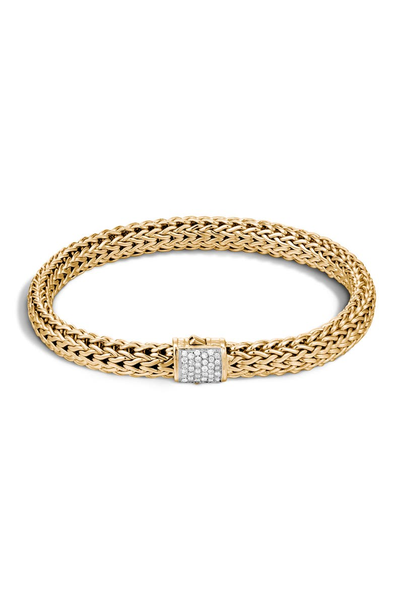 JOHN HARDY Classic Chain Diamond & 18K Gold 5mm Bracelet, Main, color, GOLD/ DIAMOND