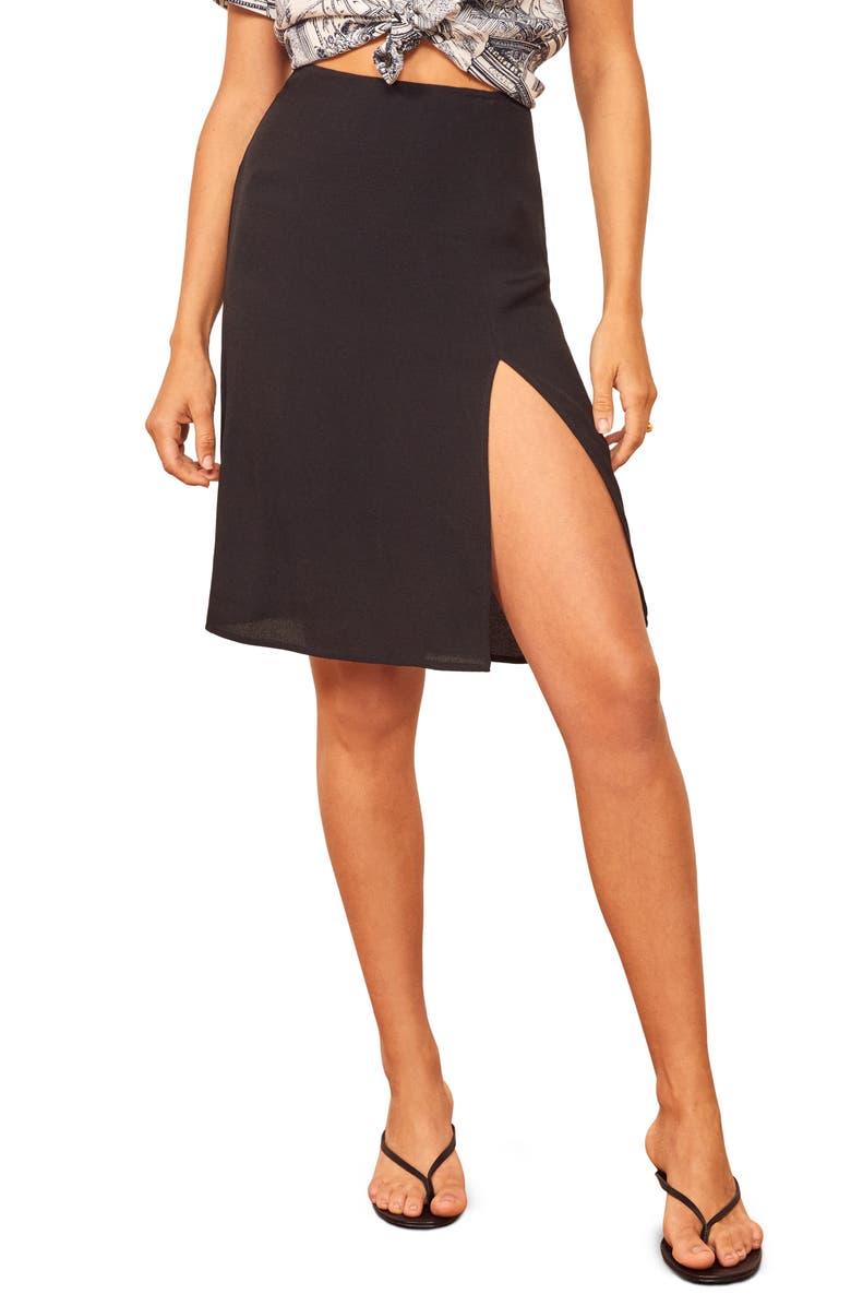 REFORMATION Grace Skirt, Main, color, BLACK