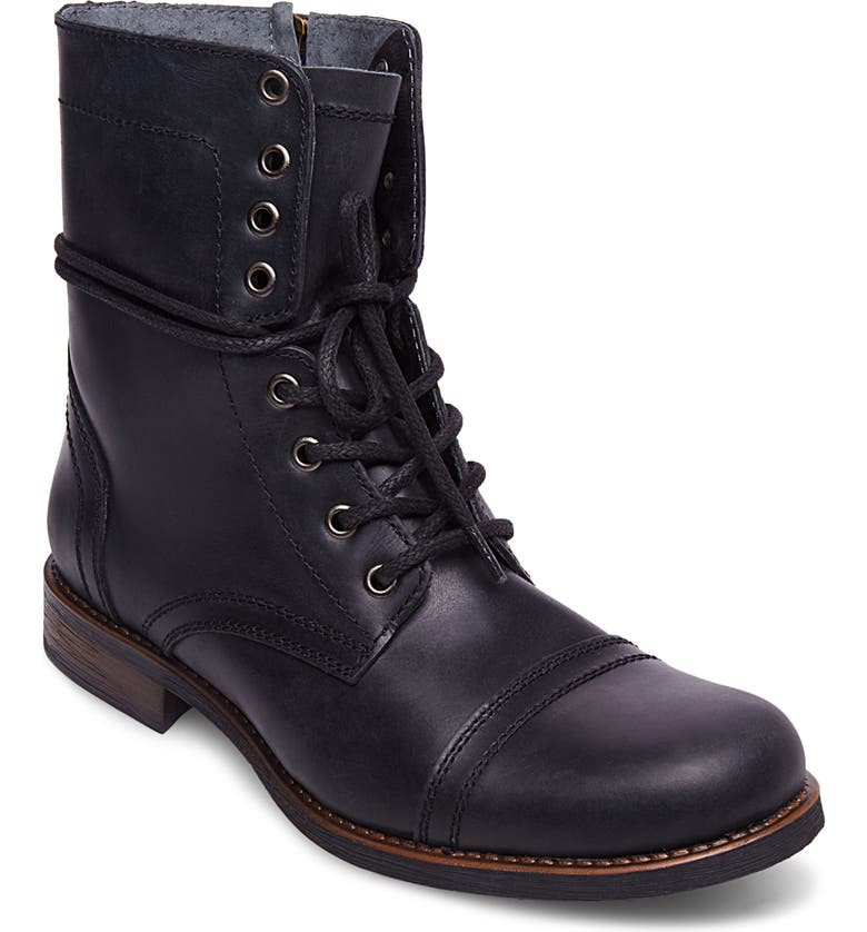 STEVE MADDEN Troopah-C Cap Toe Boot, Main, color, BLACK LEATHER