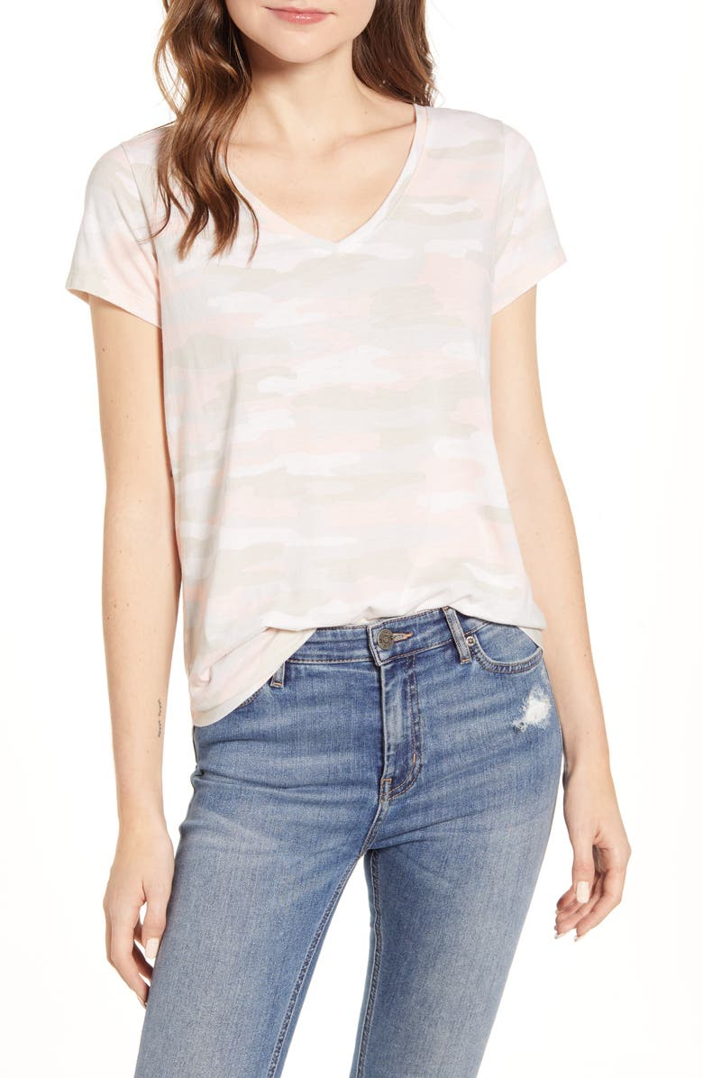 LUCKY BRAND Essential V-Neck Camo T-Shirt, Main, color, 690