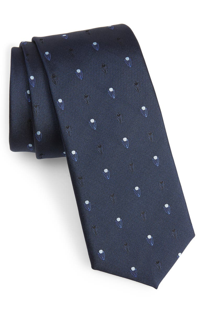 BOSS Tulip Silk Tie, Main, color, BLUE