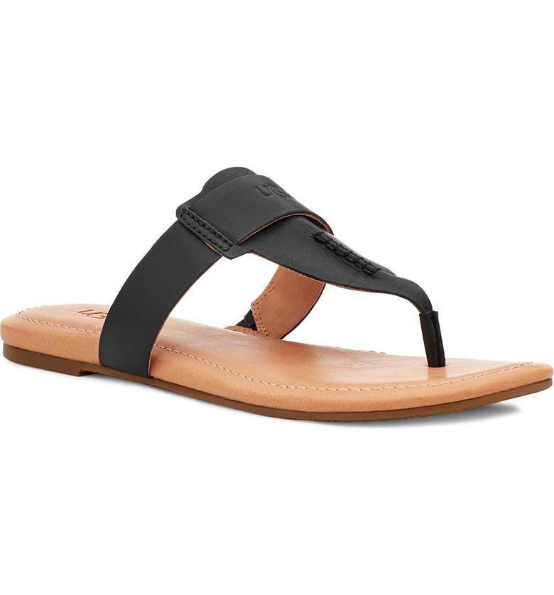 UGG<SUP>®</SUP> Gaila T-Strap Flip Flop, Main, color, BLACK LEATHER