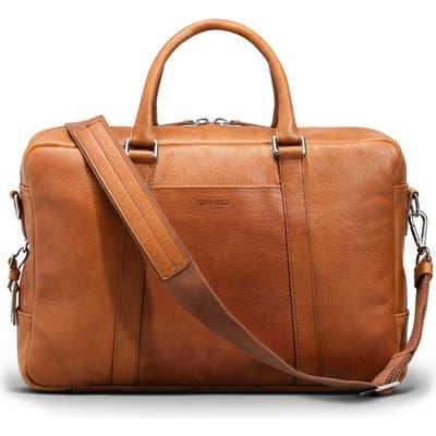 Shinola Signature Leather Slim Briefcase - Brown