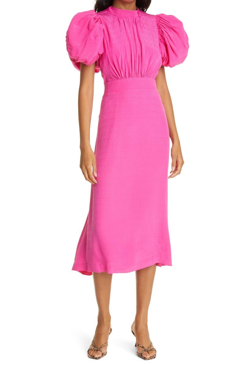 ROTATE Dawn Puff Sleeve Open Back Jacquard Dress, Main, color, FUCHSIA PURPLE
