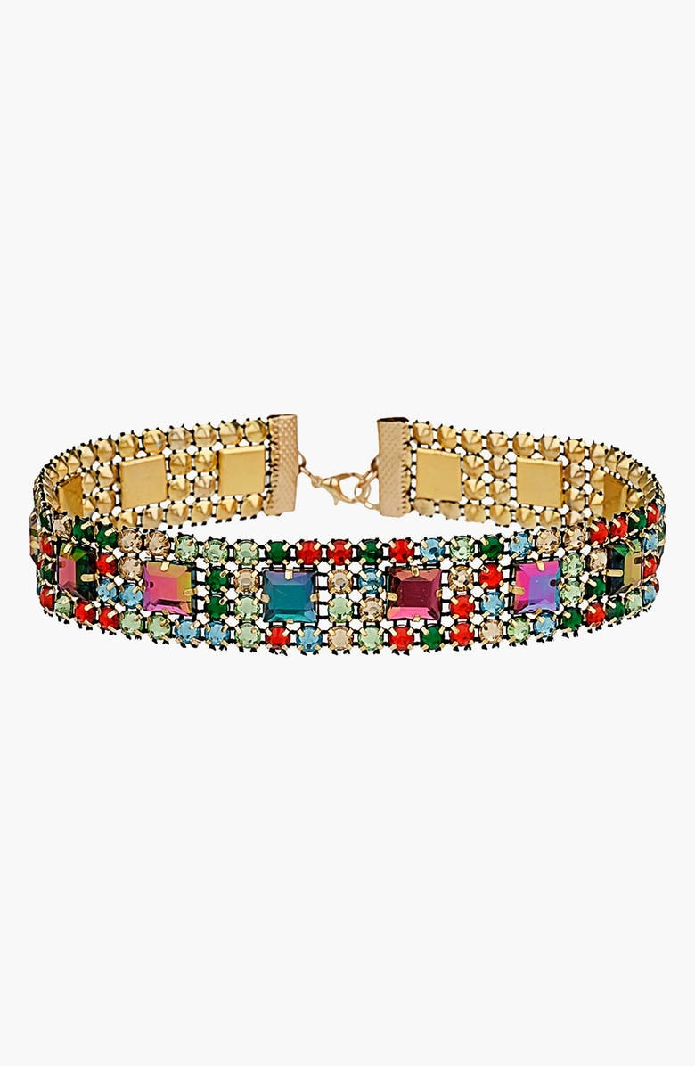 TOPSHOP Multicolored Rhinestone Choker, Main, color, 040