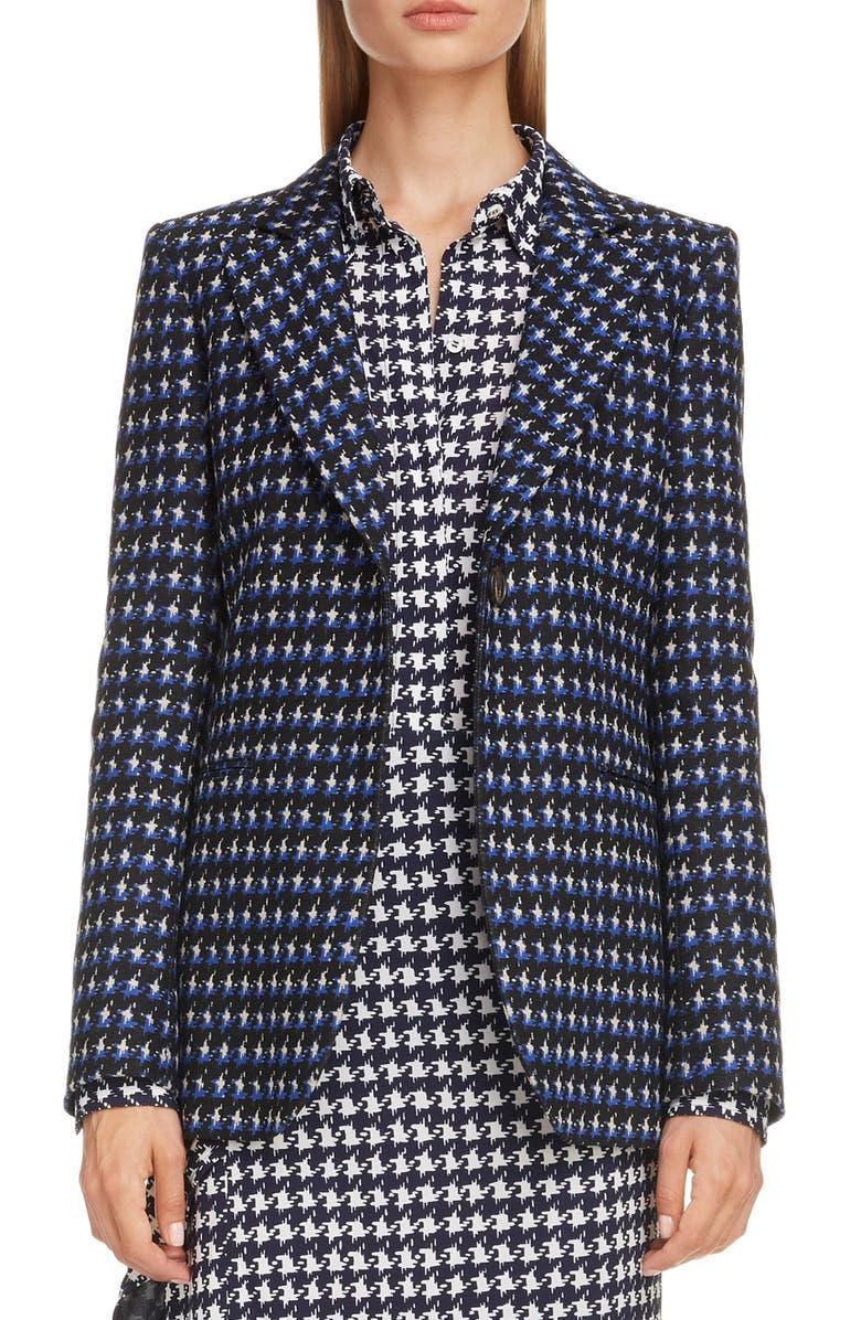 VICTORIA BECKHAM Houndstooth Jacquard Jacket, Main, color, COBALT BLACK