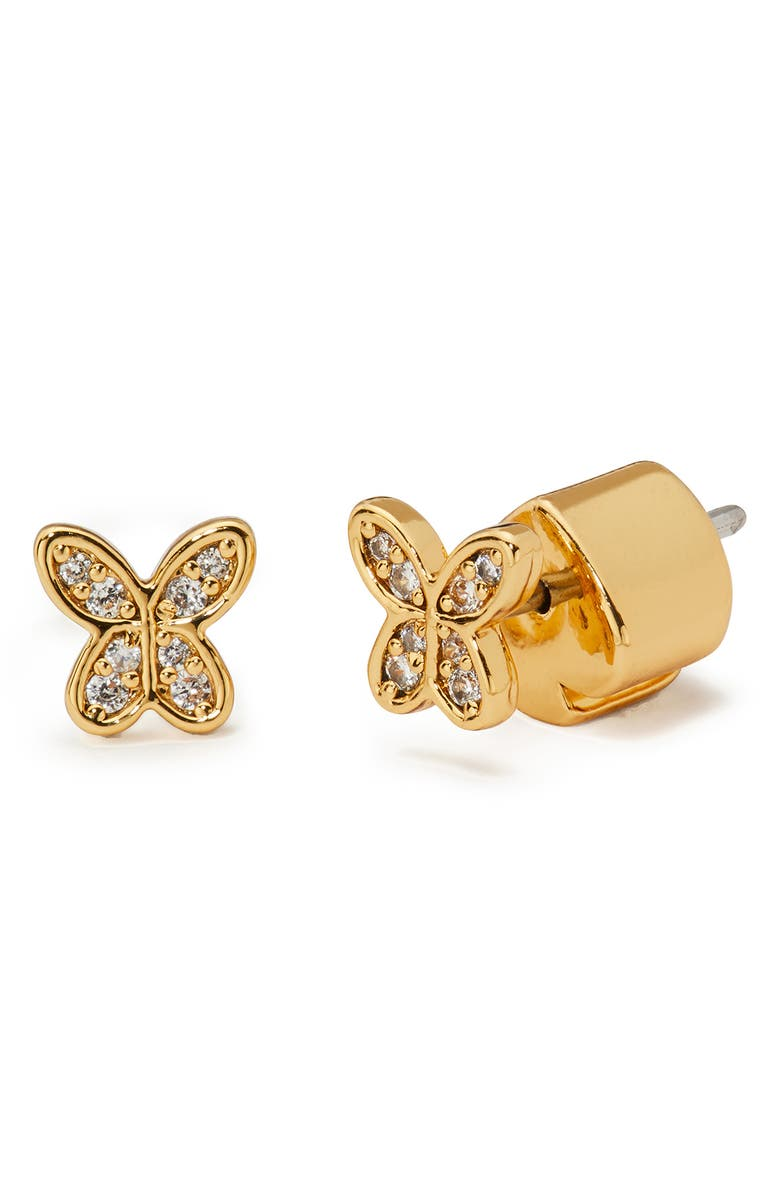 KATE SPADE NEW YORK in a flutter pavé mini stud earrings, Main, color, CLEAR/ GOLD