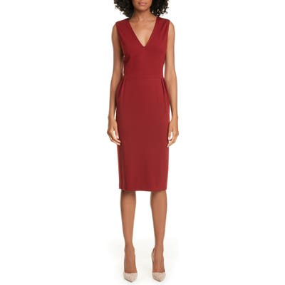 Judith & Charles Isola Pleat Detail Sleeveless Pencil Dress, Red