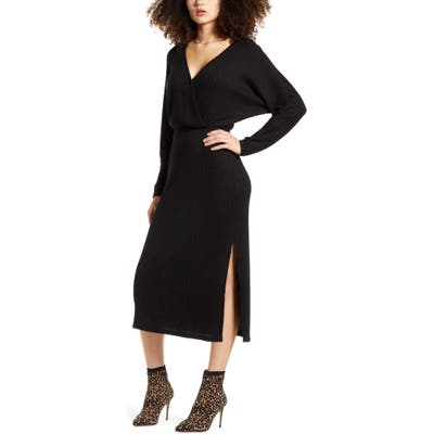 All In Favor Ribbed Long Sleeve Midi Sweater Dress, Black