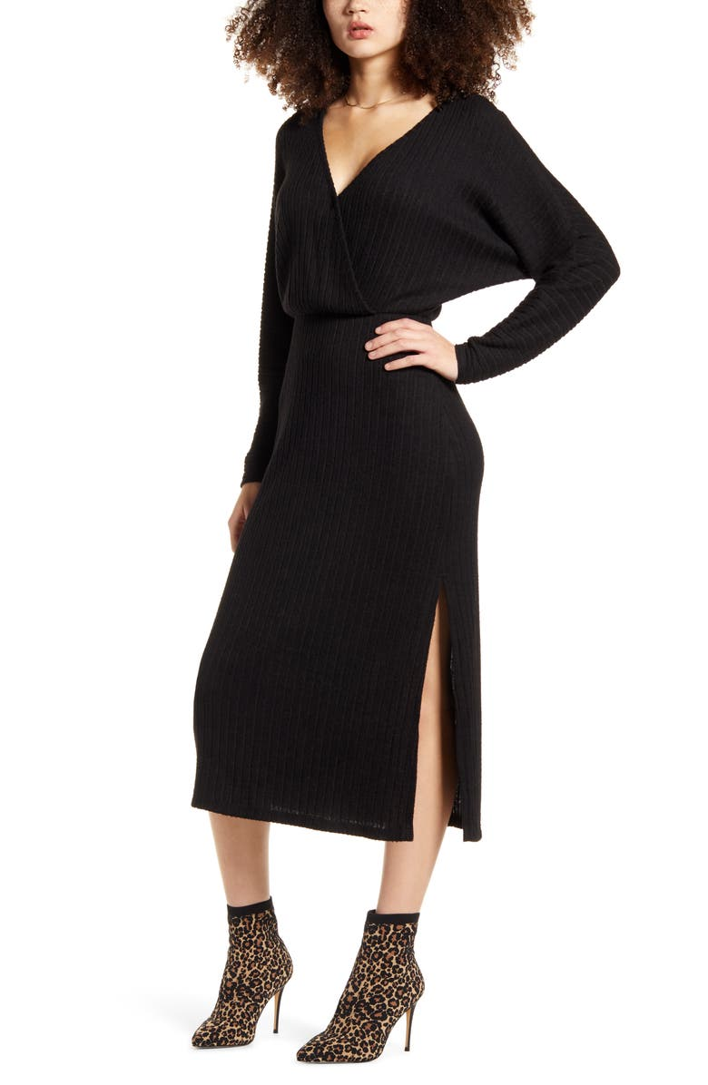 ALL IN FAVOR Ribbed Long Sleeve Midi Sweater Dress, Main, color, BLACK
