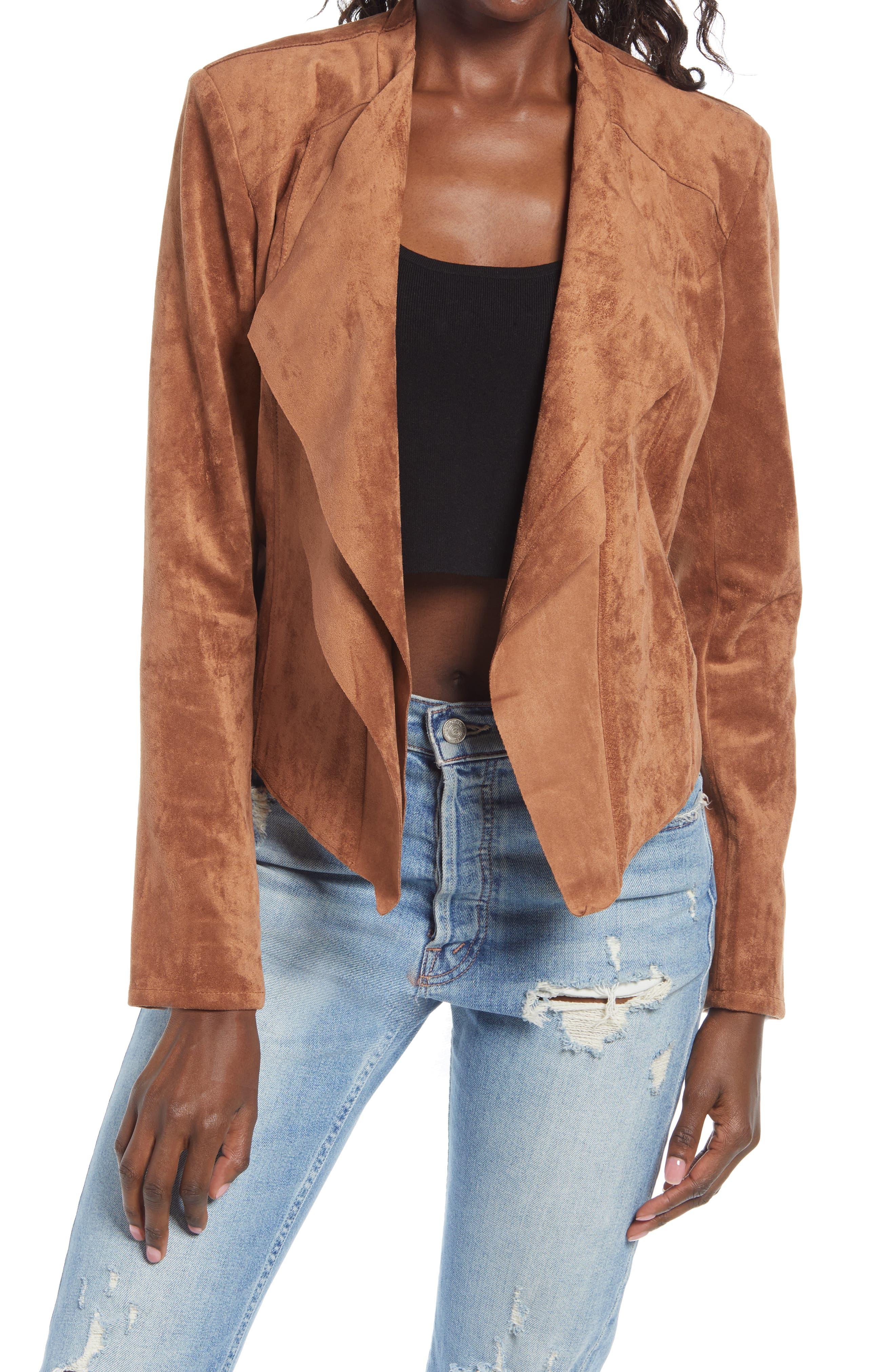 Women's Blanknyc Drape Front Faux Suede Jacket, Size Small - Brown