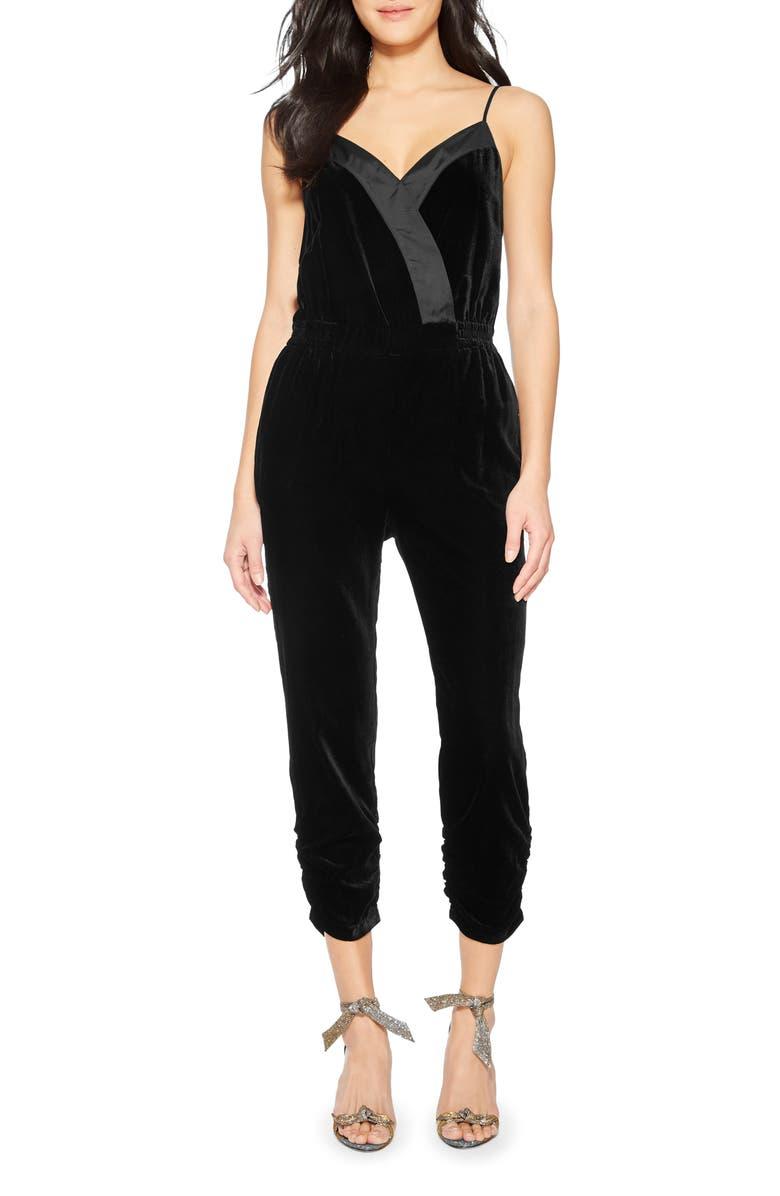 PARKER Preston Sleeveless Velvet Jumpsuit, Main, color, 001