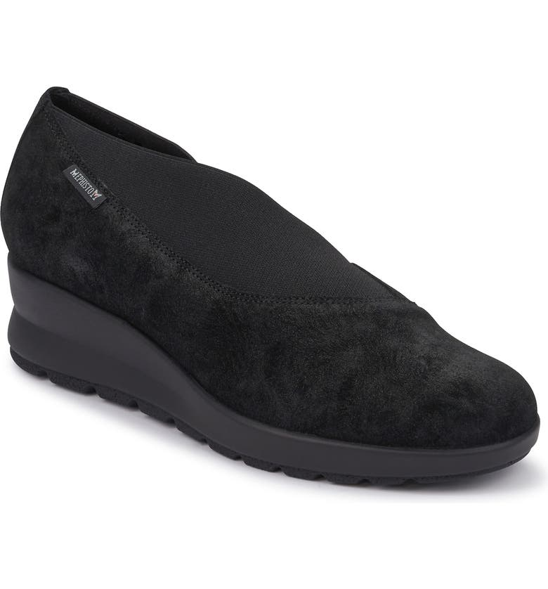 MEPHISTO Palmyre Wedge, Main, color, BLACK SUEDE