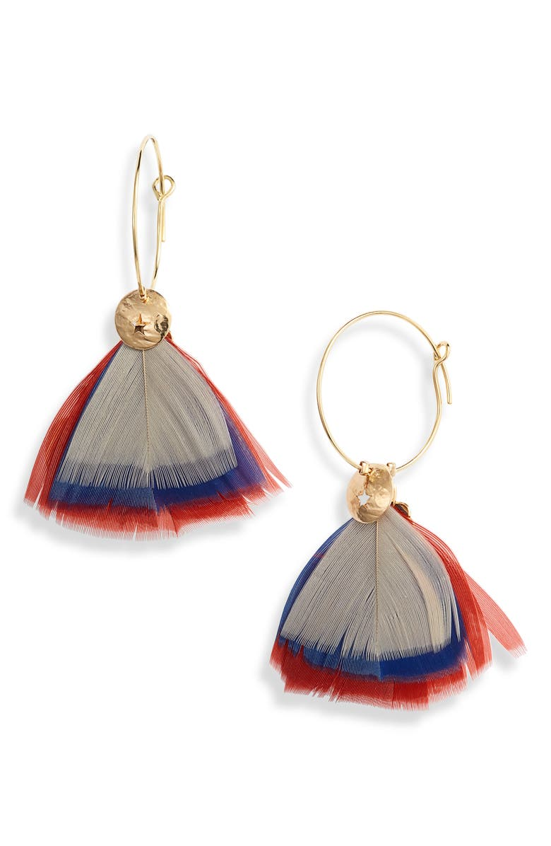 GAS BIJOUX Bermude Feather Hoop Earrings, Main, color, 400