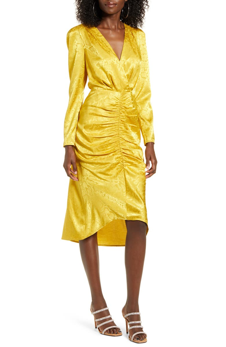 WAYF Ronnie Ruched Long Sleeve Midi Dress, Main, color, YELLOW SNAKE JACQUARD