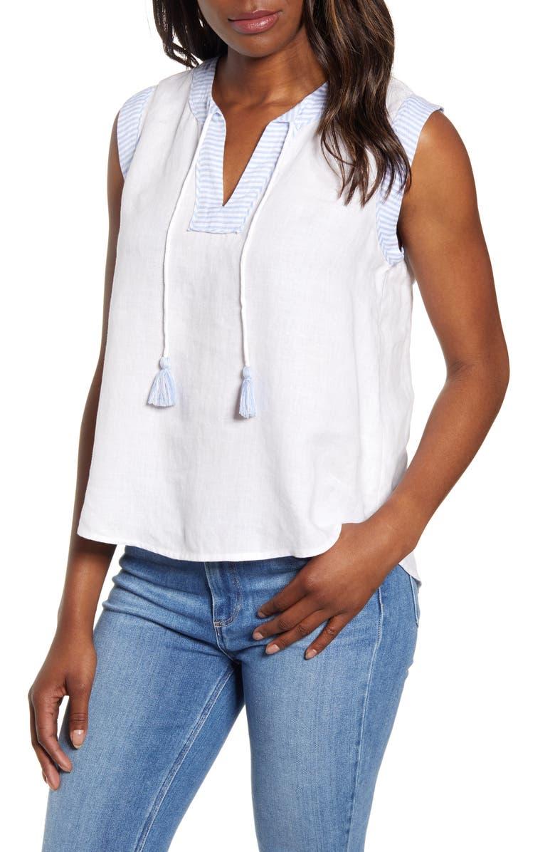 VINEYARD VINES Tassel Tie Sleeveless Linen Blouse, Main, color, WHITE CAP
