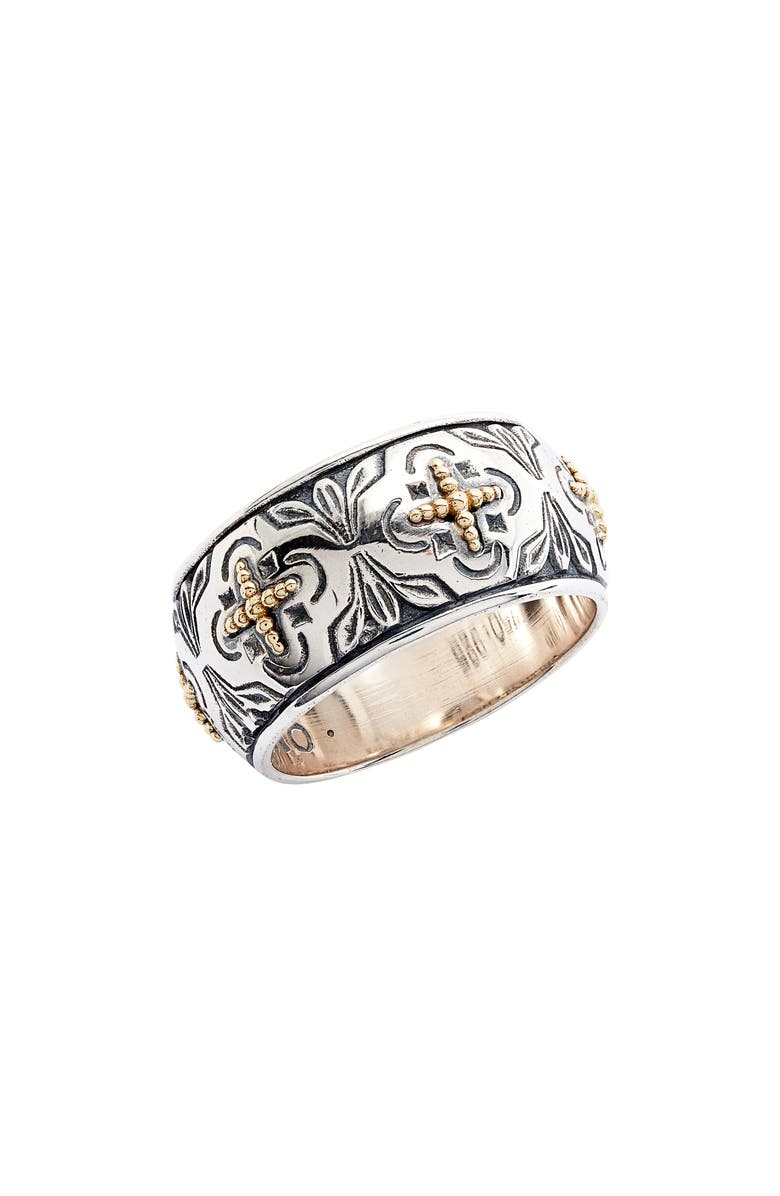 KONSTANTINO Cross Wide Band Ring, Main, color, SILVER/ GOLD