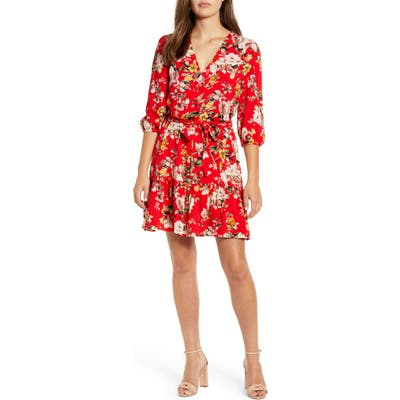 Petite Gibson X The Motherchic Paloma Woven Wrap Dress, Red