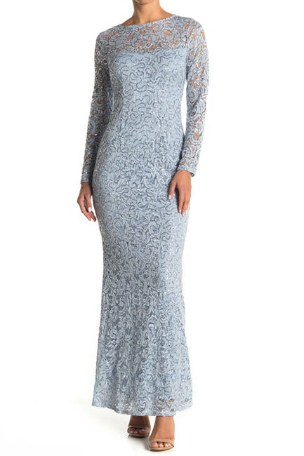 Image of Marina Sequin Lace Long Sleeve Gown