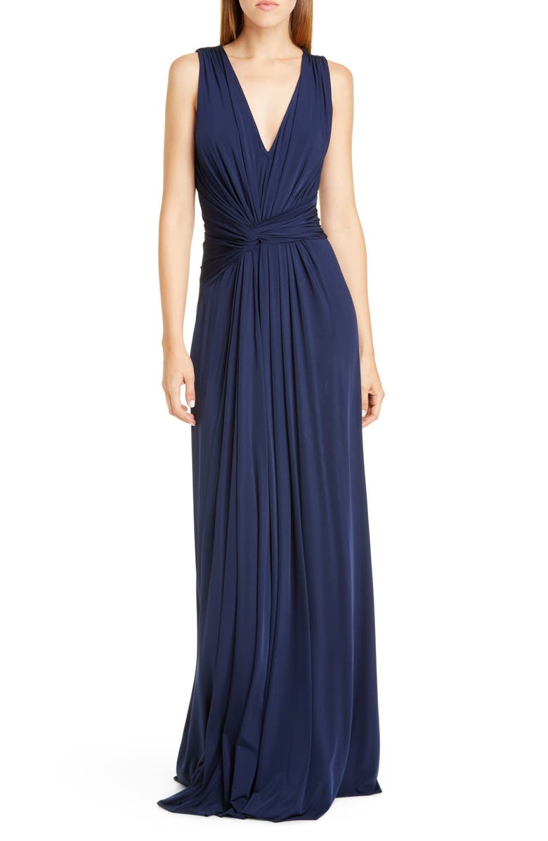 JASON WU COLLECTION Sleeveless Fluid Jersey Evening Gown, Main, color, NAVY/ NAVY