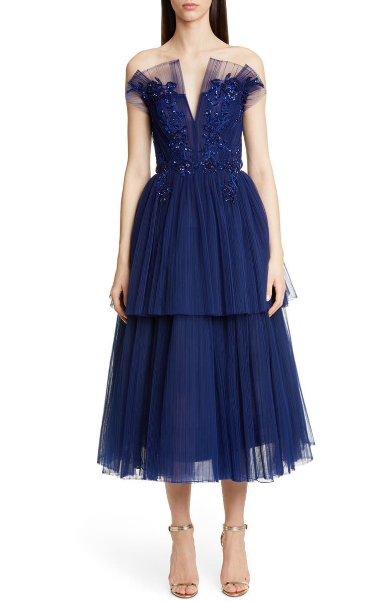 PAMELLA ROLAND Strapless Beaded Tulle Midi Dress, Main, color, SAPPHIRE