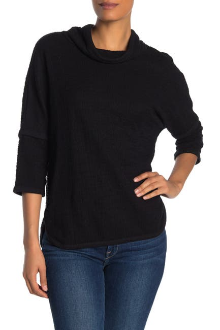 Image of Max Studio Cowl Neck 3/4 Length Sleeve Knit Top