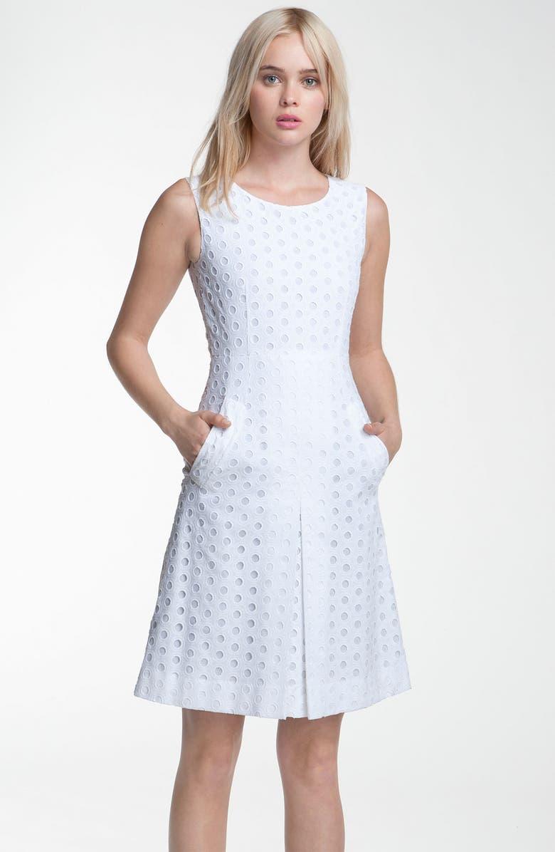 DIANE VON FURSTENBERG 'Capreena' Eyelet Dress, Main, color, 100