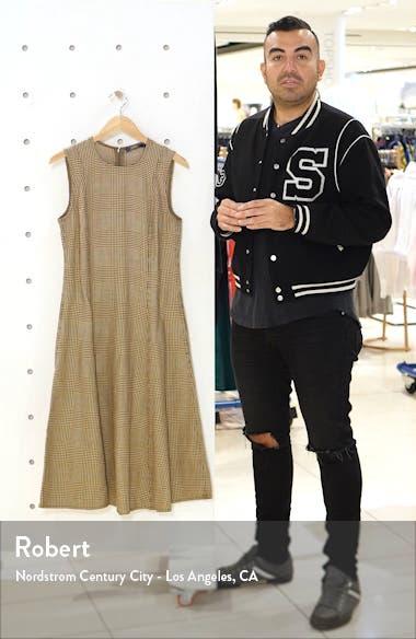 Windowpane Plaid Sleeveless Cotton & Linen Dress, sales video thumbnail