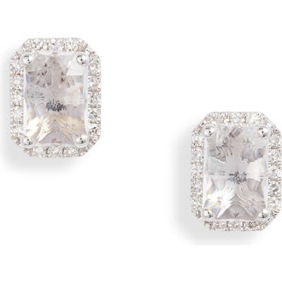 Ef Collection Diamond & White Topaz Stud Earrings