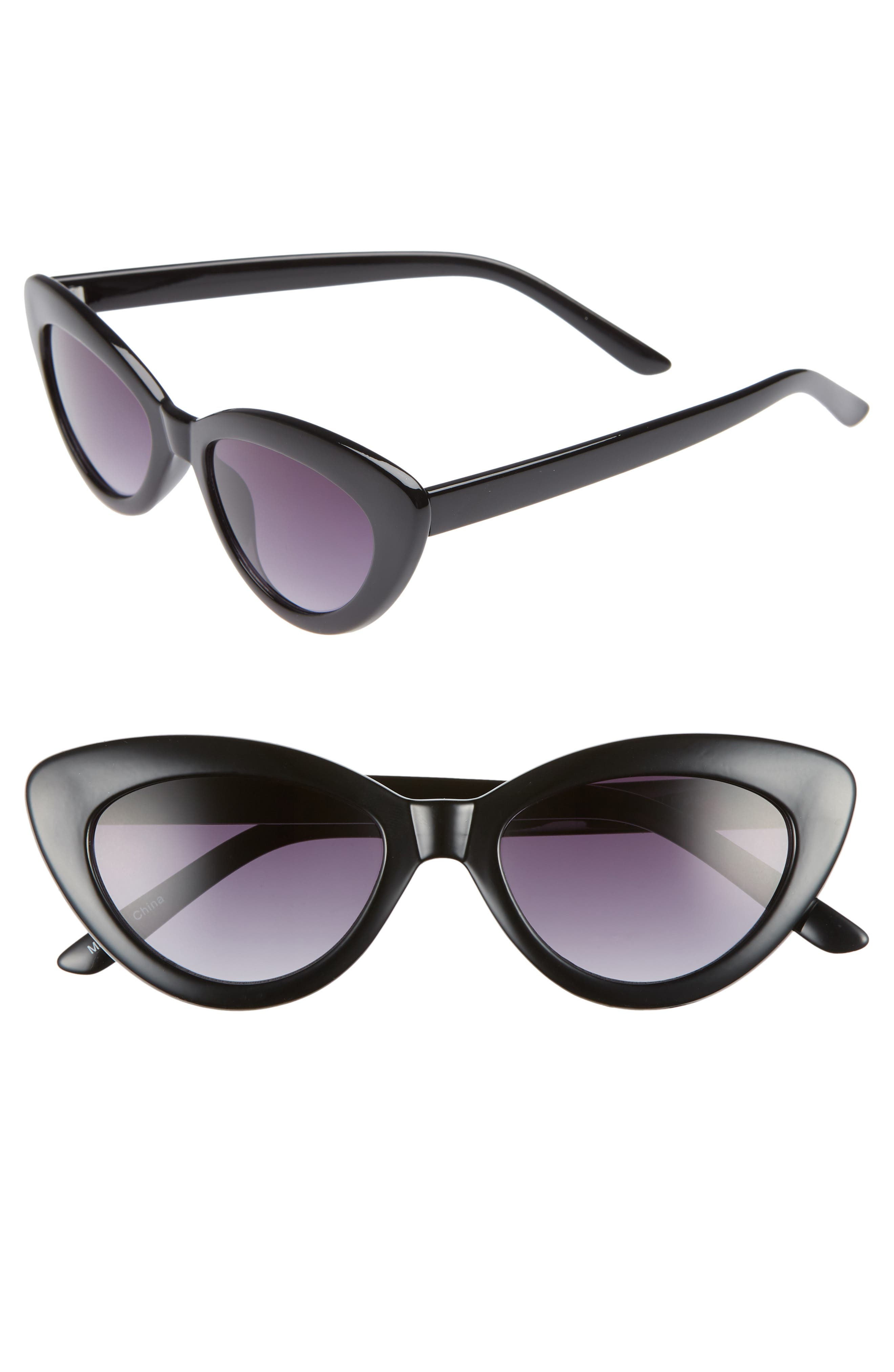 ,                             51mm Cat Eye Sunglasses,                             Main thumbnail 1, color,                             BLACK