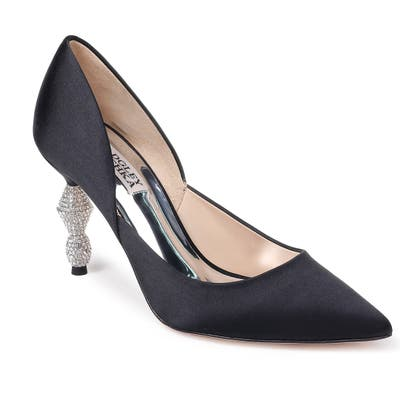 Badgley Mischka Evan Crystal Heel Pointed Toe Pump, Black