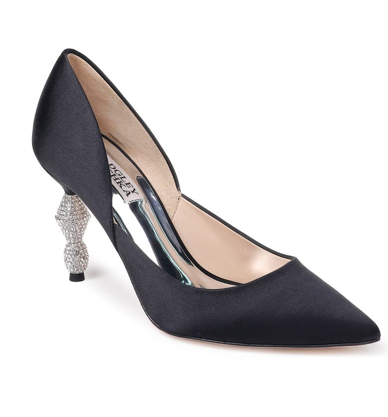 Badgley Mischka Evan Crystal Heel Pointed Toe Pump Women
