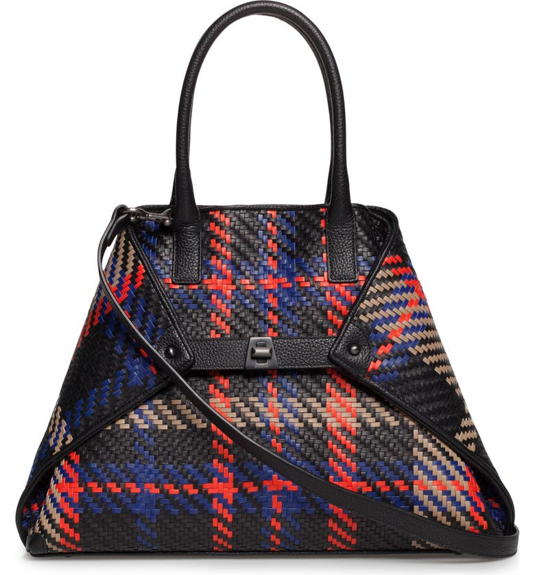 AKRIS Small AI Woven Plaid Calfskin Leather Tote, Main, color, BLACK MULT