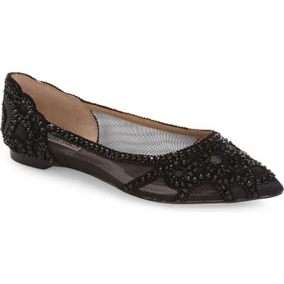 Badgley Mischka Gigi Crystal Pointy Toe Flat, Black