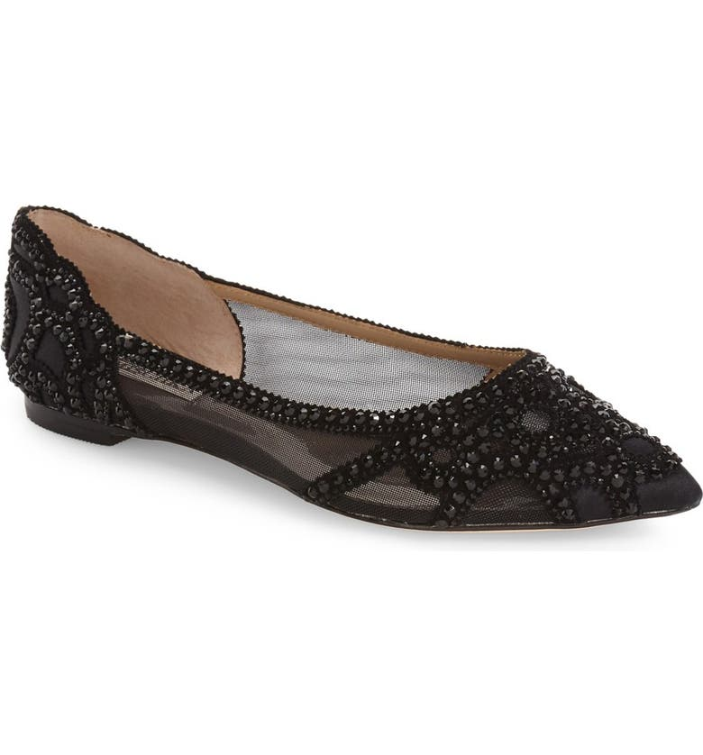 BADGLEY MISCHKA COLLECTION Badgley Mischka Gigi Crystal Pointy Toe Flat, Main, color, BLACK SATIN