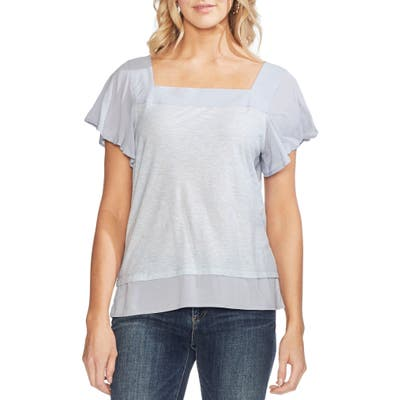 Vince Camuto Layered Look Flutter Sleeve Top, Blue