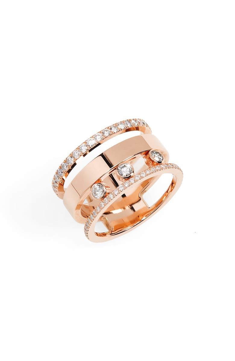 MESSIKA Three Row Move Romane Diamond Ring, Main, color, ROSE GOLD