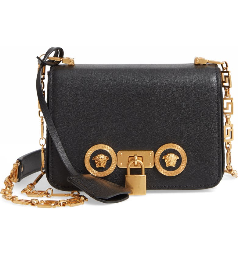 VERSACE First Line Tribute Mini Leather Crossbody Bag, Main, color, BLACK/ TRIBUTE GOLD