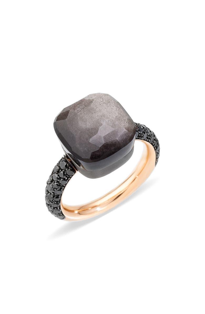 POMELLATO Nudo Maxi Stone & Diamond Ring, Main, color, RSGLD/TITANIUM OBSID/BLK DIAM