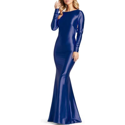 MAC Duggal Long Sleeve Mermaid Gown, Blue