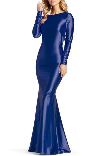 Image of Mac Duggal Long Sleeve Jersey Racerback Gown