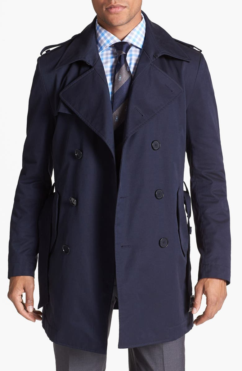 64d04d1e7eb41 BOSS HUGO BOSS Double Breasted Trench Coat, Main, color, 402