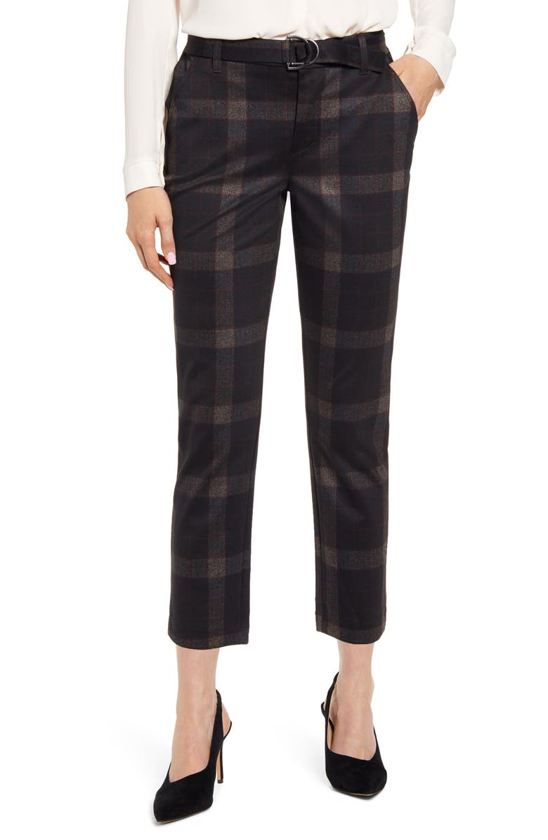 WIT & WISDOM Ab-solution Plaid High Waist Ankle Pants, Main, color, BKMU- BLACK MULTI