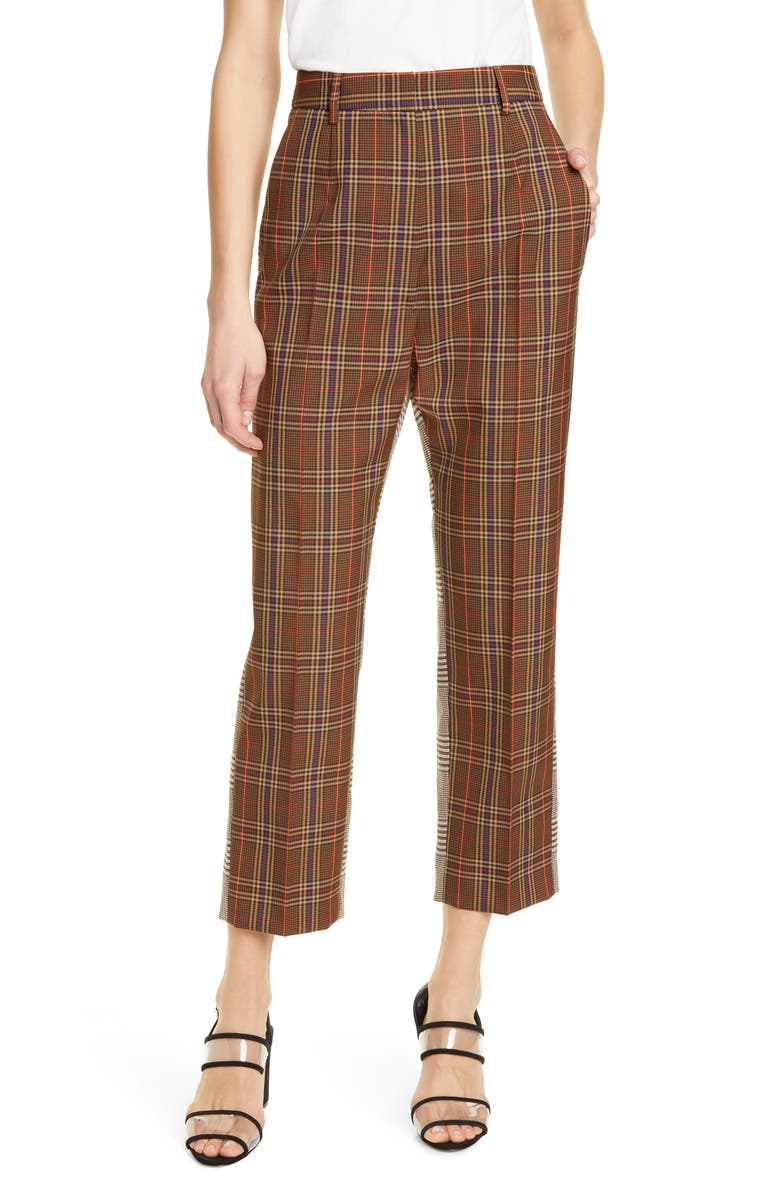 MM6 MAISON MARGIELA Mixed Check Trousers, Main, color, MIX BROWN CHECKS