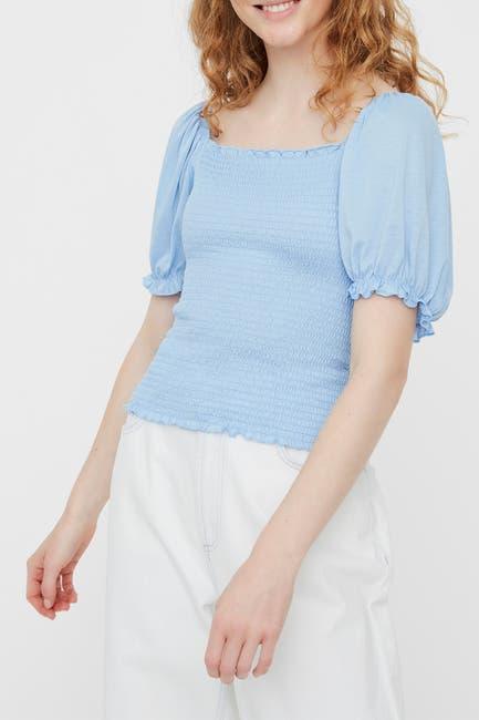 Image of VERO MODA Luci Smocked Short Sleeve Top