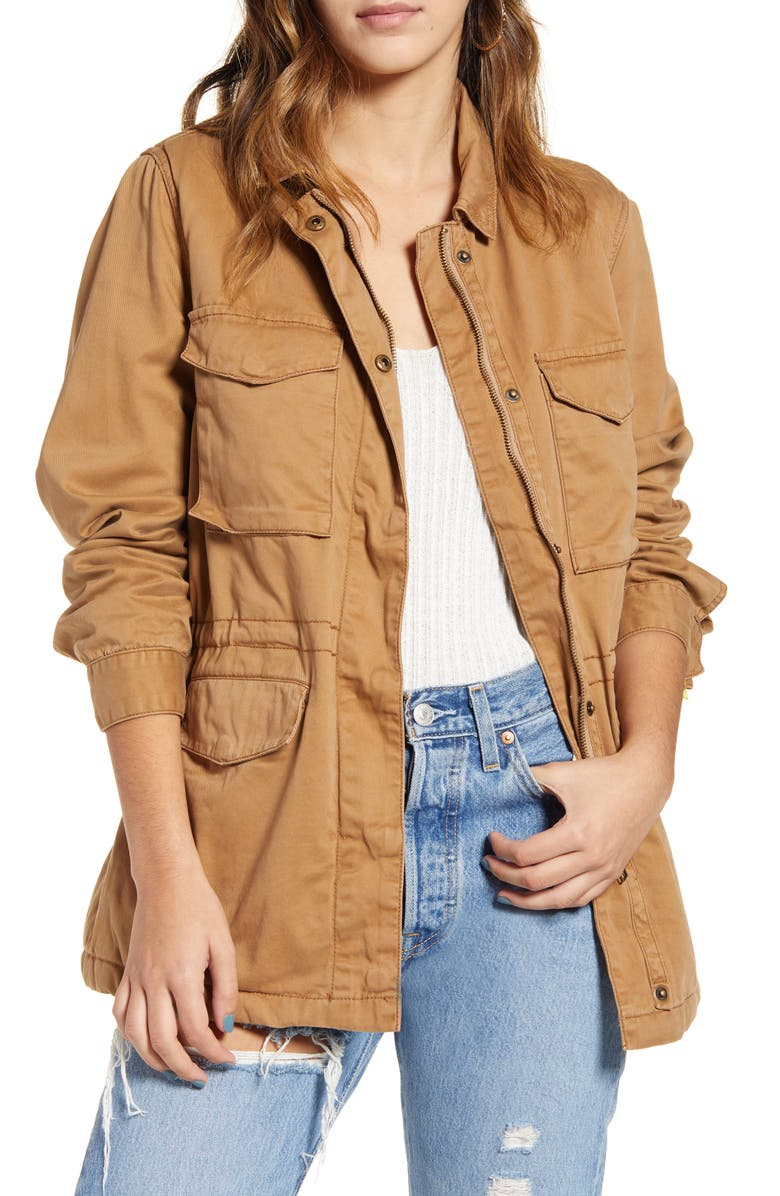 THREAD & SUPPLY Faux Fur Lined Utility Jacket, Main, color, 211