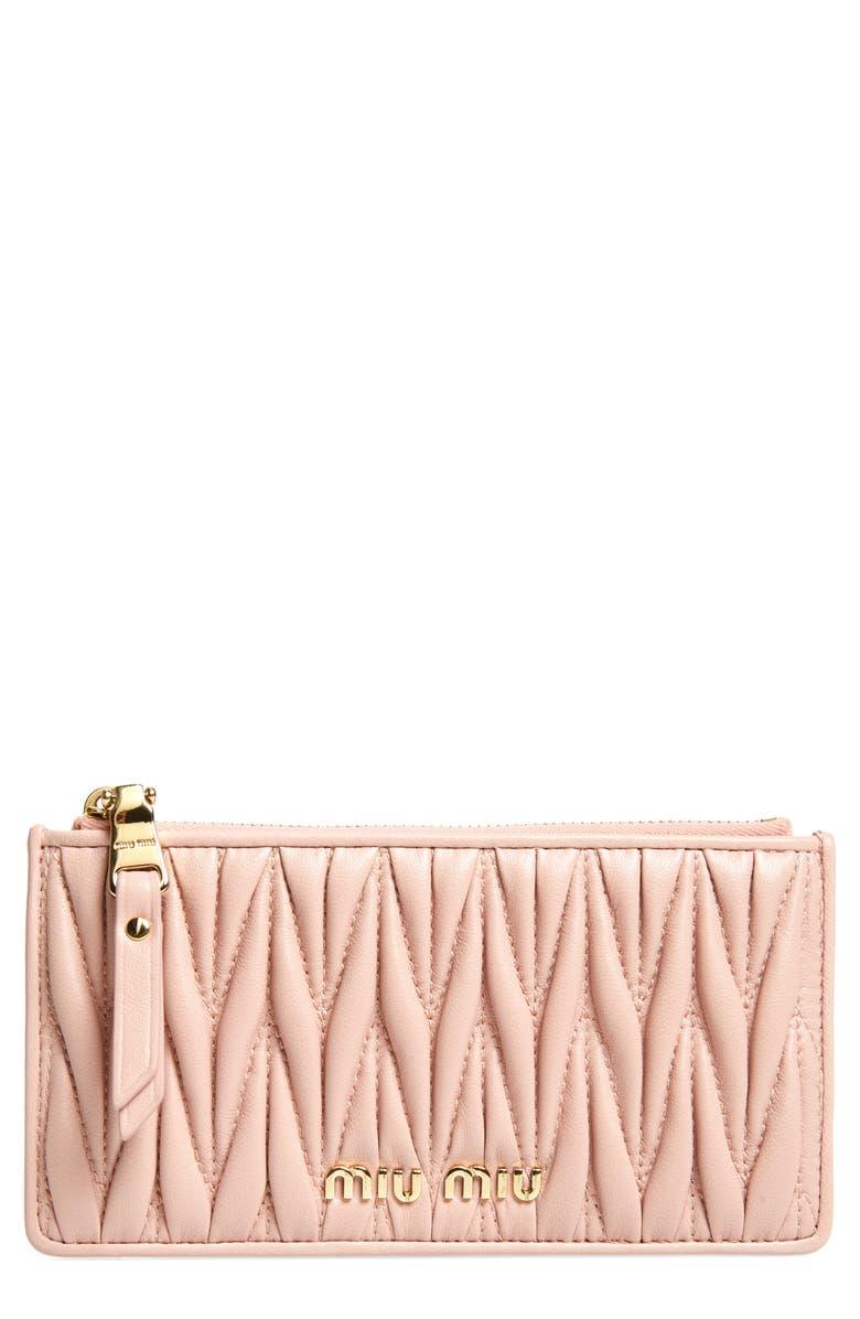 MIU MIU Matelassé Leather Zip Card Case, Main, color, ORCHIDEA