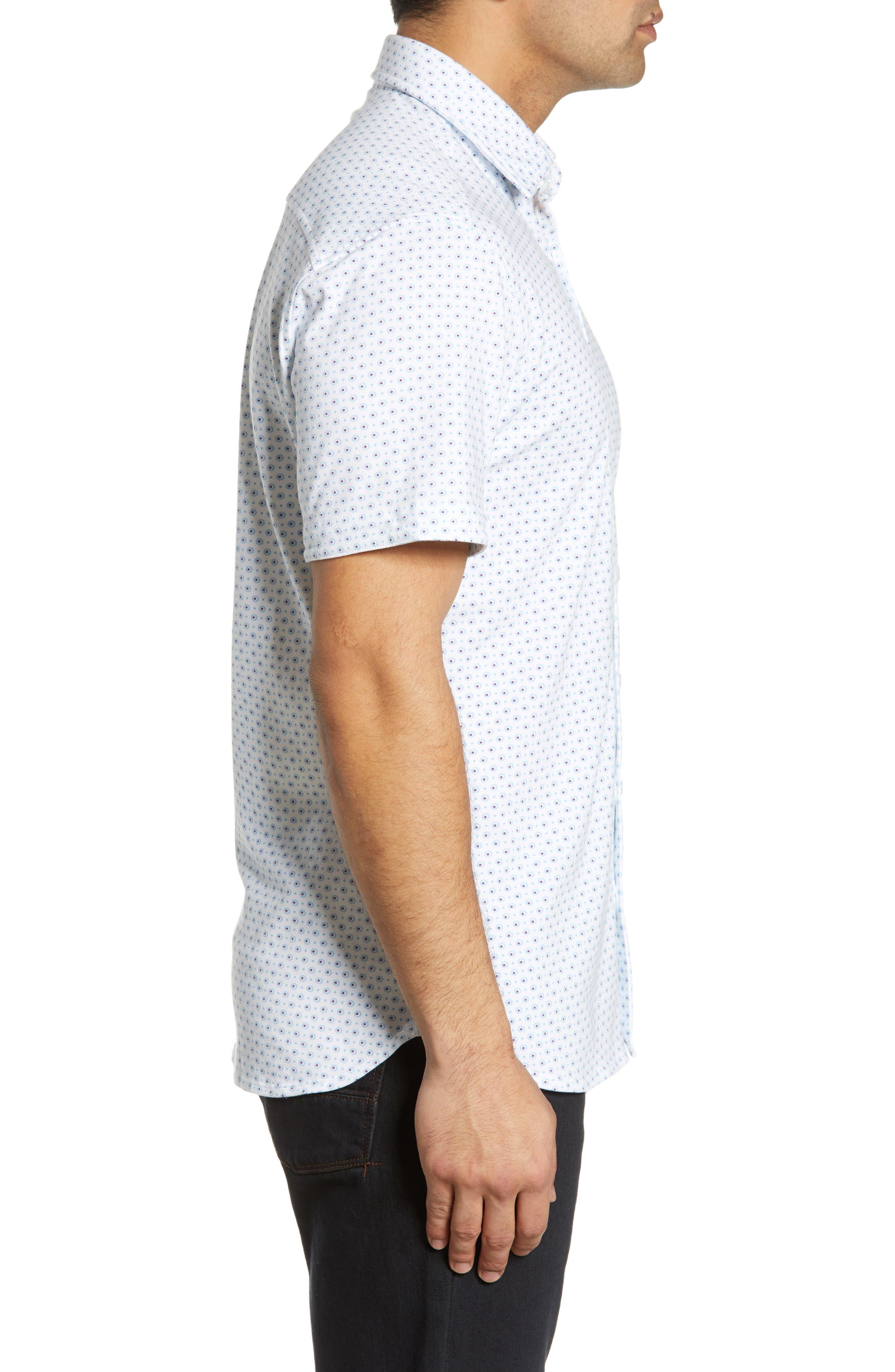 ,                             Regular Fit Geo Print Performance Knit Sport Shirt,                             Alternate thumbnail 4, color,                             LIGHT BLUE